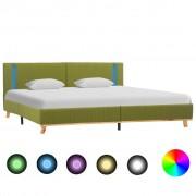 vidaXL zöld szövetkárpitozású LED-es ágykeret 180 x 200 cm