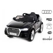 Mașinuță electrică pentru copii NOUL Audi Q7 Quattro, Negru, Licență Originală, cu Baterii, Uși care se deschid, Scaunde din Piele, 2x Motoare, Baterie de 12 V, Telecomandă 2.4GHz, roți ușoare Eva, pornire Lină