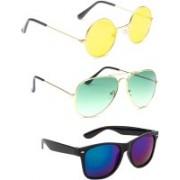 Elgator Aviator, Round, Wayfarer Sunglasses(Yellow, Blue, Green)