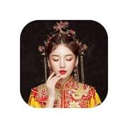 pursuit-of-self Tradicional chino novia rojo horquilla flor con abalorio de pelo palillos tocado con arete Set boda joyería accesorios, Rojo