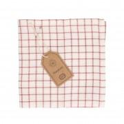 Dille&Kamille Lavette, coton bio, vieux rose,à carreaux, 40 x 40 cm
