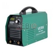 Aparat de sudura Verk VWI-200A, Electrod 1.0 - 5.0 mm, 6 Kg, Accesorii incluse, Verde