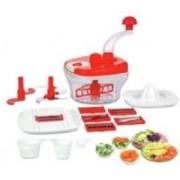 Uniq 10 in 1 Manual Kitchen Food Processor Multipurpose use, Fruit & Vegetable Multi-chopper, Cutter, Juicer, Slicer, Grater & Dough Maker ( Red ) 250 W Food Processor(Red)