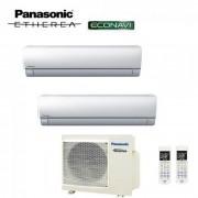 Panasonic Climatizzatore Condizionatore Panasonic Dual Split Inverter Etherea White 9000+9000 Con Cu-2e18sbe