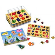 Kleeger Premium Baby Peg Puzzle 6-In-1 Set - 6 Different Themed Educational Knob Puzzles For Boy & Girl Toddlers - Alphabet