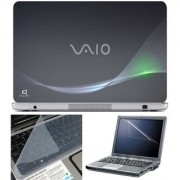 Finearts Laptop Skin Vaio Grey With Screen Guard And Key Protector - Size 15.6 Inch
