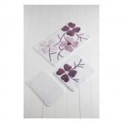 Chilai Home by Alessia Sada 3 fialovo-bílých předložek do koupelny Flowers