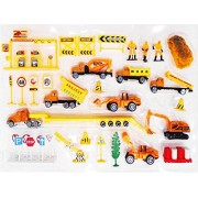Sanyal Complete Truck World Construction Crew 40 Pcs Mini Diecast Vehicle Toy Play Set Comes with Variety of Vehicles and Figures