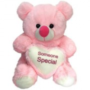 Ultra Plush Valentines Pink Teddy Bear Holding Heart - Someone Special