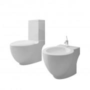 vidaXL Fehér Kerámia WC és Kagyló Készlet (141135+140665)