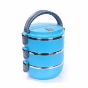 Lunch Box Food Grade Stainless Steel Thermal Hot Vacuum Steel Insulated Lunch Tiffin Container Mess Box (Blue 3 Layer)