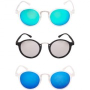 TheWhoop Combo New Mirror Green Silver And Blue Round Sunglasses For Men And Women (Pack Of 3)