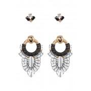 Free Press Bead Stone Thread Drop Earrings - Set of 2 WHITE MULTI-BLACK-GOLD