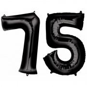 Shoppartners 75 jaar zwarte folie ballonnen 88 cm leeftijd/cijfer