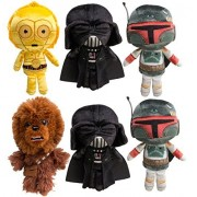 Star Wars (Set of 6) Disney Galactic Plushies Cute Stuffed Animals Plush Toys for Kids & Adults Darth Vader Chewbacca Boba Fett C3PO by Funko