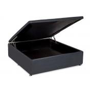 Cama Box Baú Ortobom Courino Cinza - Cama Box King Size - 1,93x2,03x0,35 - Sem Colchão