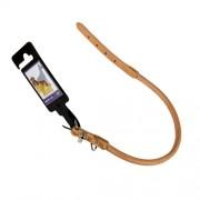 Hundhalsband av läder, rundsytt, Ljusbrunt, 10mm x 40cm