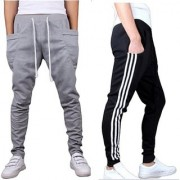 Stylatract Sports Men's Active Wear Regular-fit Lower Casual Track Paint Gray/ Black