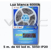 Kit tira led IP20 de 5 mts 5050 60 led mts con transformador luz BLANCA 6000k