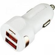 Зарядно Canyon CNE-CCA04W, от автомобилна запалка към 2x USB (ж), 5V, 2.1A, Бял, CNE-CCA04W