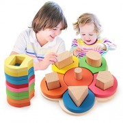 BabyPrice WOODEN FLOWER---Sorting & Stacking Blocks Shape Color Learning Toy Geometric Board Block Toys Early Development Toys for Kids Boys Girls