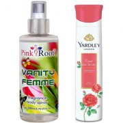 Yardley Red Roses Refreshing Body Spray 150ml and Pink Root Vanity Femme Fragrance body Spray 200ml Pack of 2