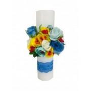 Lumanare botez personalizata prin broderie cu nume si flori artificiale Trandafiri Dede Brodi Star