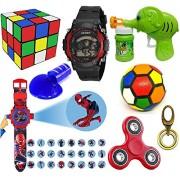 Lemonade-Pack of 8 Kids Special Toys - 3*3 Puzzle Cube, Fidget Spinner, Slime, Multicolor Soft Ball, Benton Bubble Gun, Metal Keyring, Sports 7 Light, Spiderman Projector Band for Kids, Children
