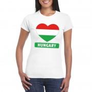 Bellatio Decorations Hongaarse vlag in hartje shirt wit dames
