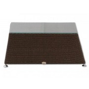 aniba Design table with glass top Montreal made of poly rattan, brown