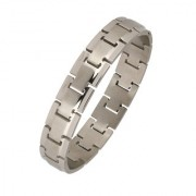 The Jewelbox Italian Geometric Silver Rhodium 316L Surgical Stainless Steel Openable Kada Bracelet Boys Men