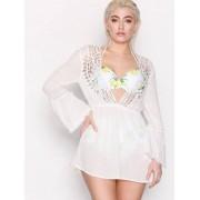 Topshop Crochet Kaftan Dress Tunikor Cream