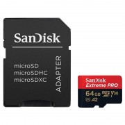 Micro SD Card, 64GB, SanDisk Extreme Pro, 1xAdapter, Rescue Pro Deluxe, Class 10 U3 (SDSQXCY-064G-GN6MA)