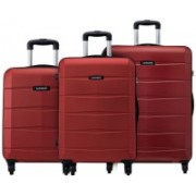 Safari Regloss Anti-Scratch (Combo Set of 3 Small, Medium & Large) Check-in Luggage - 30 inch(Red)