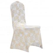 vidaXL Housses extensibles de chaise 6 pcs Blanc avec imprimé doré