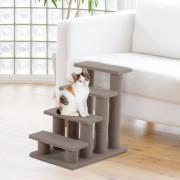 PawHut ® Escalera de Mascota Escalón Gato con 4 Pasos de Felpa Marrón Claro 63.5x43x60cm