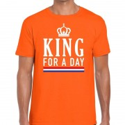 Bellatio Decorations Oranje King for a day t-shirt voor heren