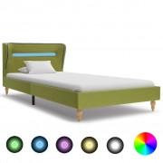 vidaXL zöld szövetkárpitozású LED-es ágykeret 90 x 200 cm