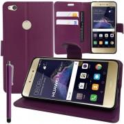 Huawei P8 Lite (2017) 5.2/ P9 Lite (2017)/ Honor 8 Lite/ Nova Lite/ Gr3 (2017) (Non Compatible Version 2015/ 2016): Etui Housse Coque Pochette Portefeuille Livre Support Video Cuir Pu - Violet + Stylet