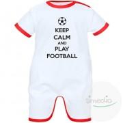 SiMEDIO Barboteuse bébé : Keep Calm and play FOOTBALL - Noir 2-3 mois