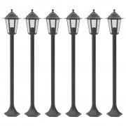 vidaXL Градински стълбове, 6 бр, E27, 110 см, алуминий, бронз