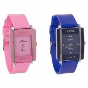 Shree Glory Combo Of Two Watches-Baby Pink Blue Rectangular Dial Kawa Watch For Women by Sangho hub