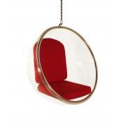 Replica Eero Aarnio Hanging Bubble Chair-Red Fabric cushion