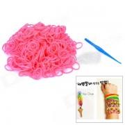 DIY Weaving Educacion silicona 600-Bands + S-pulsera de la hebilla para Ninos - Pink
