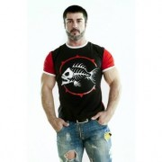 Epatage Облегающая мужская футболка с принтом голодной рыбы черного цвета Epatage RTbr194m-EP