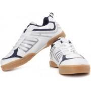 Nivia Hy-Court II Badminton Shoes For Men(White, Blue, Grey)