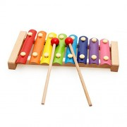 MoTrent Wooden 8 Notes Xylophone - First Musical Instrument for Children Portable Music Toys for Kids Baby with 2 Wood Mallets