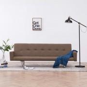 vidaXL Разтегателен диван с подлакътници, кафяв, полиестер