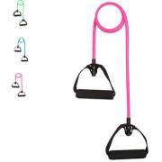 CP Bigbasket Pack Of two (2) Toning Tube Resistance Bands / Cord Pulley TPR Foam For Exercise Handles Pink