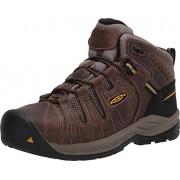 Keen Utility Flint II Zapatos de Trabajo Antideslizantes para Hombre, Punta de Acero, Color café y Dorado